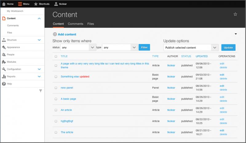 drupal 8 admin themes